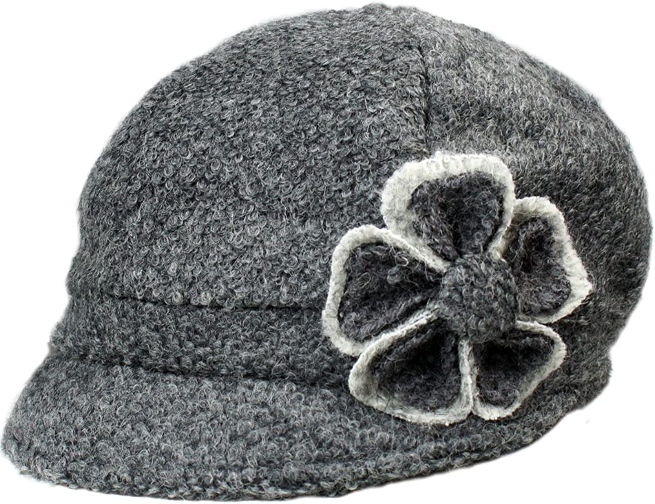 Dahlia Women's Chic Max 88% OFF Flower Newsboy Cap Tucson Mall Lay Blend Dual - Wool Hat