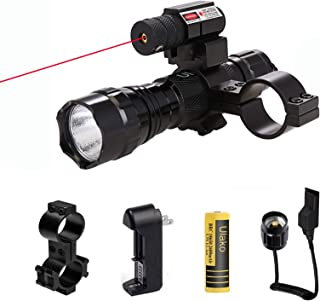 Ulako Red Dot Laser with Single 1 Mode Hunting Tactical L2 Flashlight Torch Scope Mount Pressure Switch