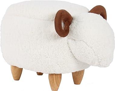 HAOSOON Animal Ottoman Series Storage Ottoman Footrest Stool with Vivid Adorable Animal-Like Features (White Sheep) (Storage)