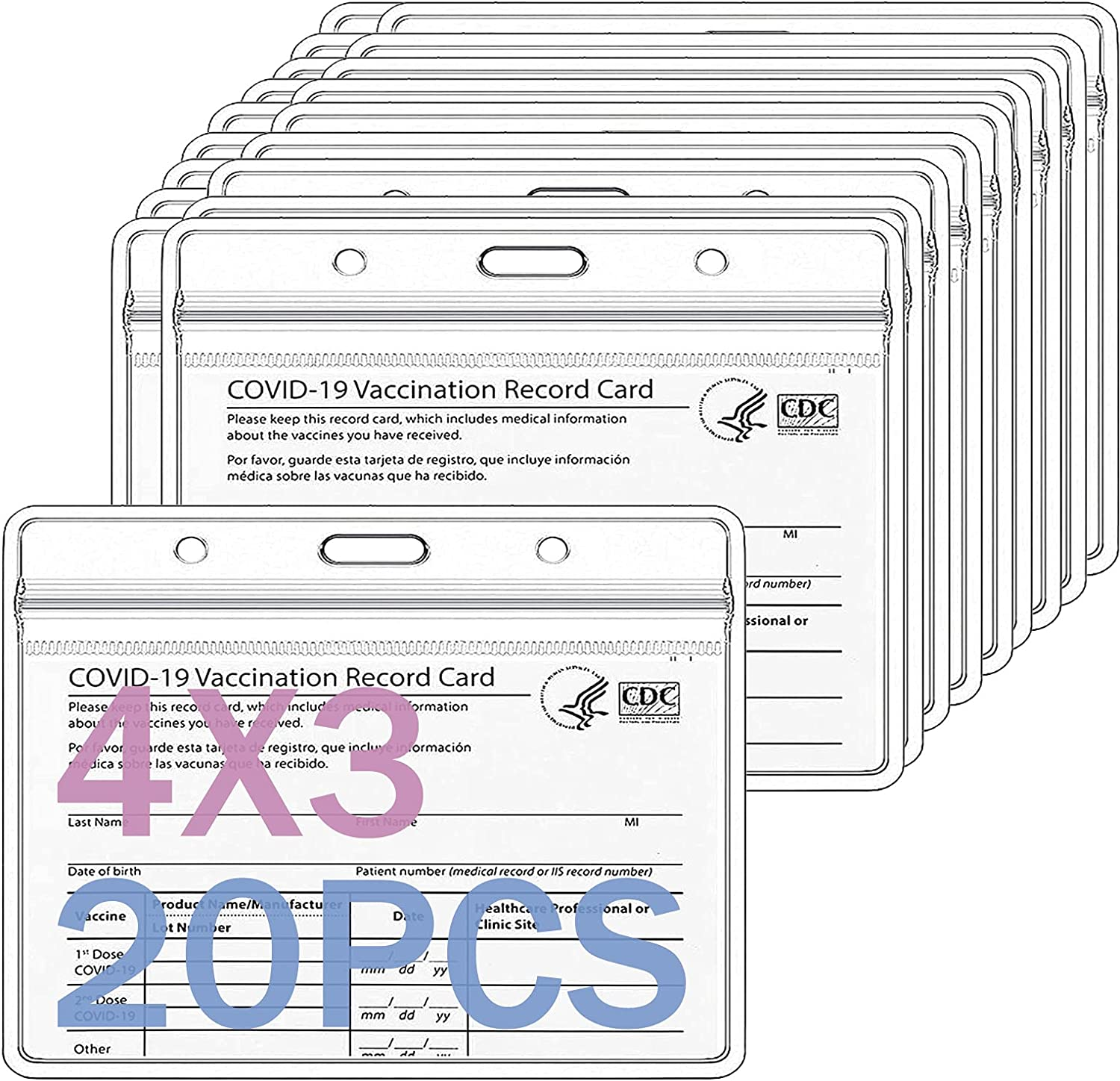 20Pack-CDC Free shipping anywhere in the nation Vaccination Card Ranking TOP10 Protector 4X3 H Cards Vaccine Record