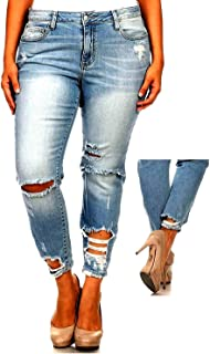 Jack David/Wax Jeans L,Square Womens Plus Size Stretch Distressed Ripped Blue Skinny Denim Jeans