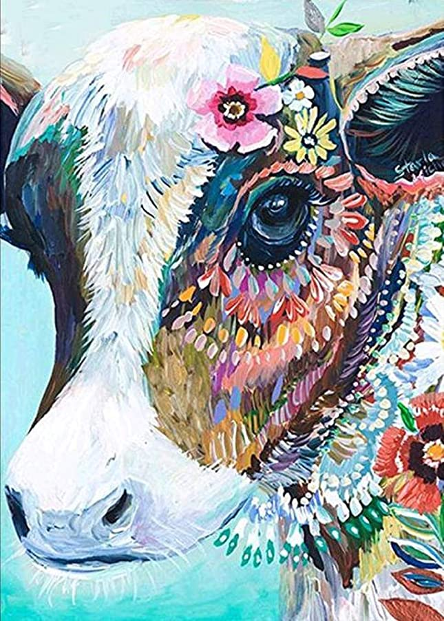 DIY 5D Diamond Painting by Number Kits Crystal Rhinestone Diamond Embroidery Paintings Pictures Arts Craft for Home Wall Decor (Colorful Cow)