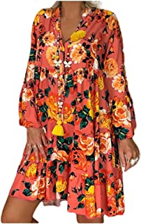 RkYAO Women's Floral Printed Ruffled Over Sized Button Swing Dress