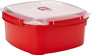مجموعة أواني طهي بخارية من سيستيما، حجم كبير، سعة 13.6 كوب، لون أحمر، وعاء طهي وتقديم الطعام والخدمة خالٍ من البيسفينول، أحمر