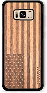 Wooden Phone Case (American Flag in Mahogany) Compatible with Galaxy S8, Samsung Galaxy S8