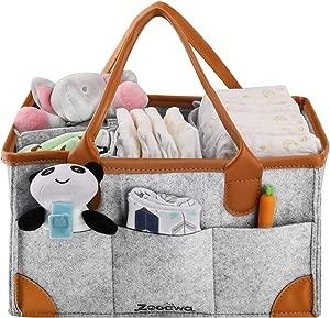 Zooawa Diaper Caddy Organizer  Portable Felt Large Nursery Storage Car Travel Organizer Toy Organizer Nappy Organizer Storage with Handle Carrying  Gray