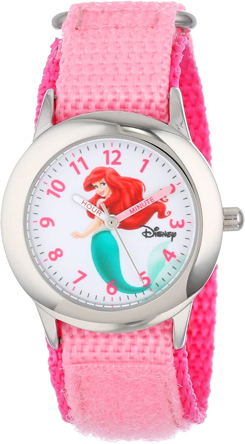 Disney Kids' W000958 Ariel Stainless Complete Free Shipping Steel with Pink Watch Nylon Max 54% OFF
