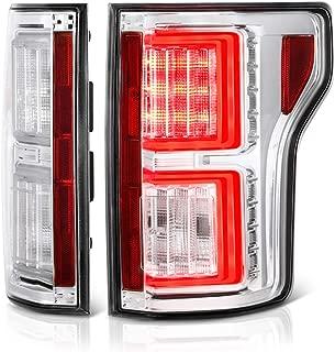 VIPMOTOZ Premium OLED Tube Chrome Housing LED Tail Light Lamp Assembly For 2018-2019 Ford F-150 Pickup Truck, Driver & Passenger Side