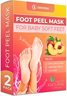 Foot Peel Mask - For Cracked Heels, Dead Skin & Calluses - Makes Your Feet Baby Soft - Removes & Repairs Rough Heels, Dry Toe Skin - Exfoliating Peeling Natural Treatment (2 Pack, Women's 5-11)