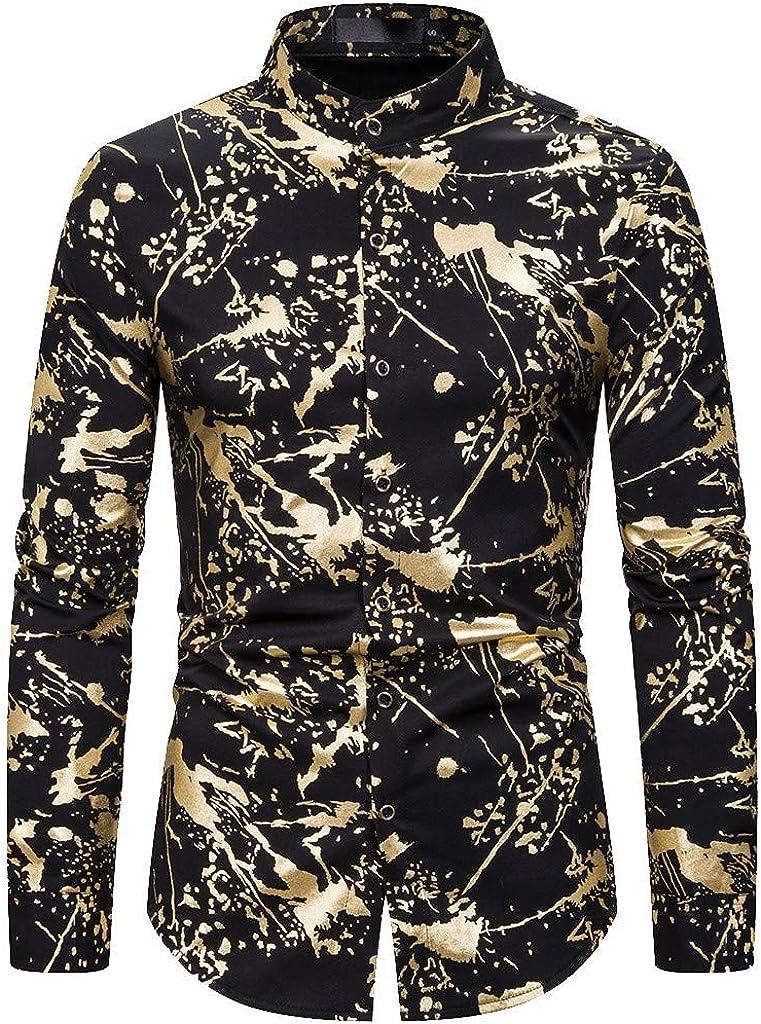 MODOQO Men's Button Down Shirts Long Sleeve Casual Blouse Turn-Down Collar Tops