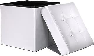 WoneNice Folding Storage Ottoman Cube Foot Rest Stool Seat (White)