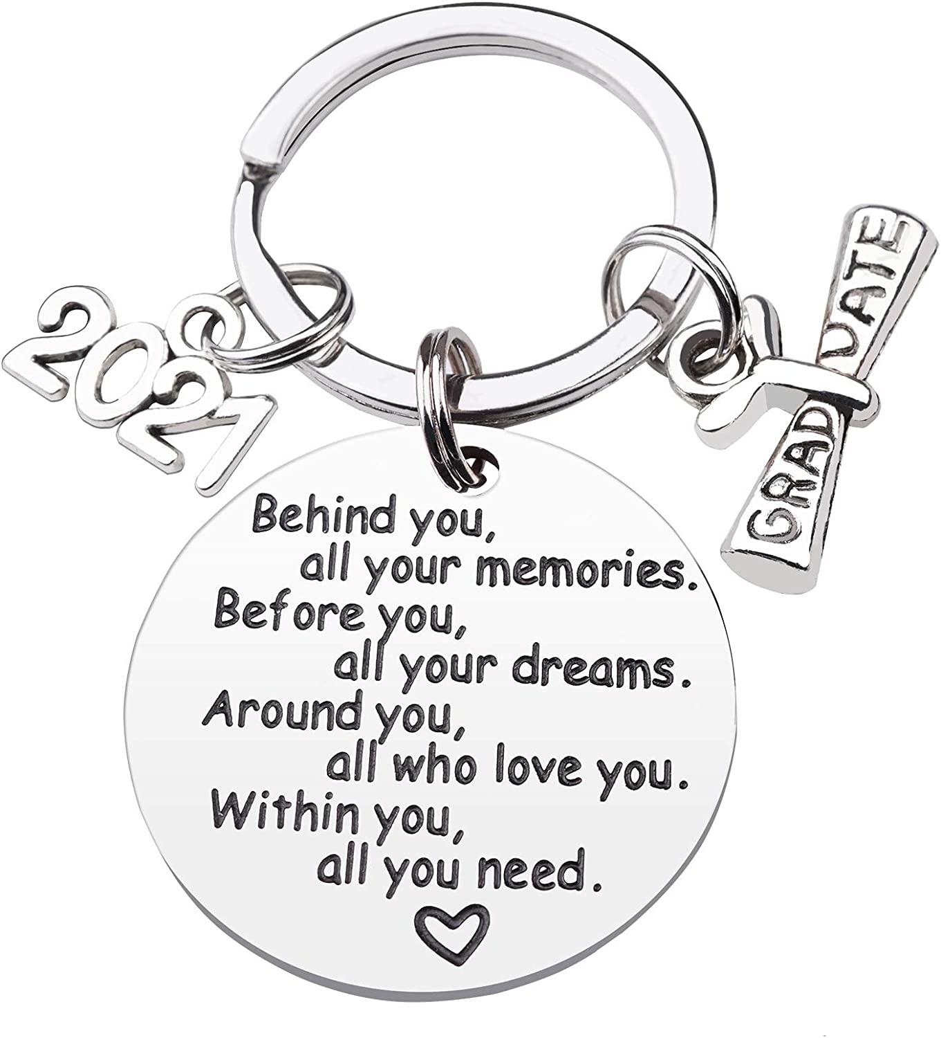 CDLong Class of 2021 Graduation Keychain - Senior 2021 Graduation Gifts for Her/Him, Inspirational Gifts for College Graduation / High School Graduation, Made of Stainless Steel