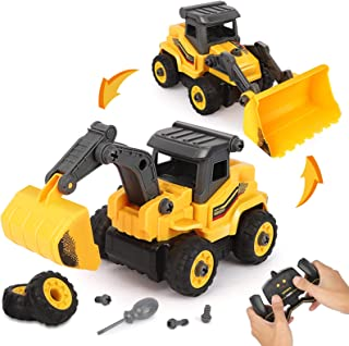 BeebeeRun Take Apart Construction Toys - Construction Trucks for Boys - 2 in 1 RC Construction Vehicles - Remote Control Excavator and Bulldozer Toys for Boys, Gift for 3 4 5 6+ Year Old Boy & Kid