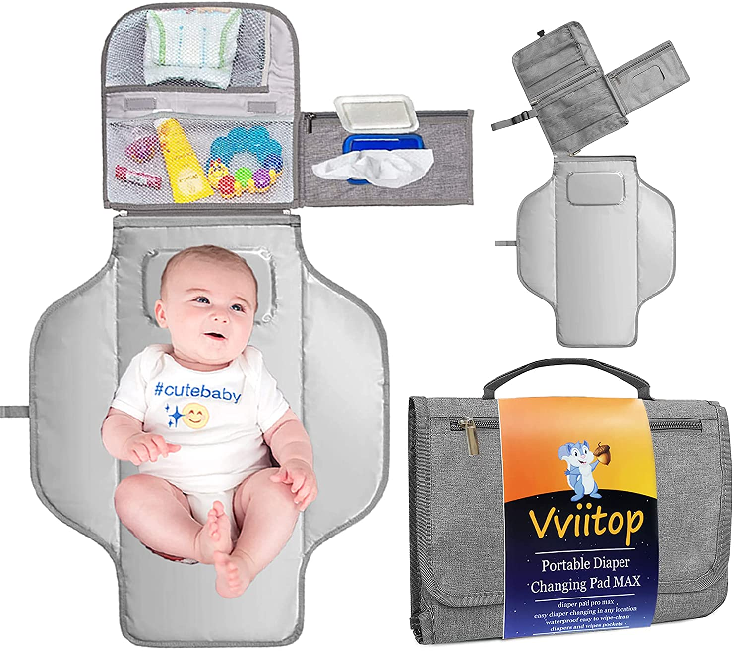 Portable Diaper Changing Pad MAX, Detachable Travel Changing Pad for Baby with Wipes Pocket, Diaper Pad Changing Mat Clutch Bag for Newborn Boys & Girls