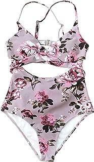 CUPSHE Women's Mauve Pink Floral Print Front Wrap One-Piece Swimsuit