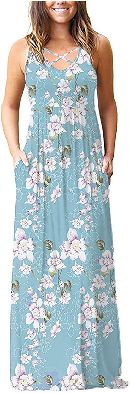 Maxi Dresses for Women Women's Boho Ranking TOP1 Casual Sleeveless unisex Summer Fl