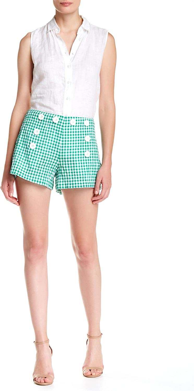 Max Studio Women's Green Gingham Shorts Bandless Cotton New OFFicial site life