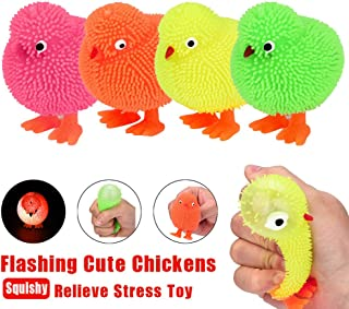 Ackful🍁6CM Novelty Flashing Puffer Cute Chickens Squidgy Sensory Toy Activity and Play Ball
