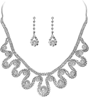 BRLTime Crystal Rhinestone Necklace Earrings Jewelry Set Women's Crystal Simulated Pearl Wedding Bridal Jewellery Luxery B...