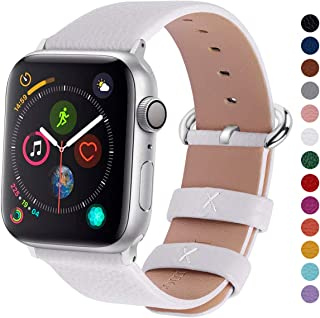 Fullmosa Compatible Apple Watch Band 38mm 40mm 42mm 44mm Calf Leather Compatible iWatch Band/Strap Compatible Apple Watch Series 5 Series 4 Series 3 Series 2 Series 1,38mm 40mm White