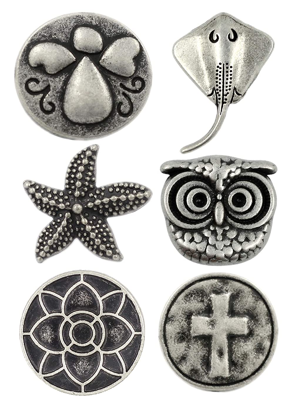 Bezelry 12 Pieces Mixed Craft Making Antique Silver Color Metal Shank Buttons. 2 Pieces per Style.