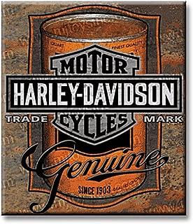 HARLEY-DAVIDSON Tin Sign, Oil Can Bar & Shield Rustic Sign, Brown 2010931