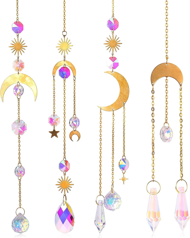 Piklodo 4Pcs Crystals Sun Catcher Hanging Prisms Garden Suncatchers Moon Window Light Rainbow Ornament for Home Wedding Plant Tree Car Decoration