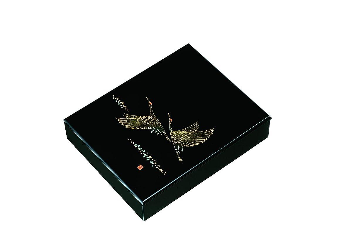 ホバーキリスト教周辺山家漆器店 10.0 文庫 黒塗 ツルの舞 紀州漆器