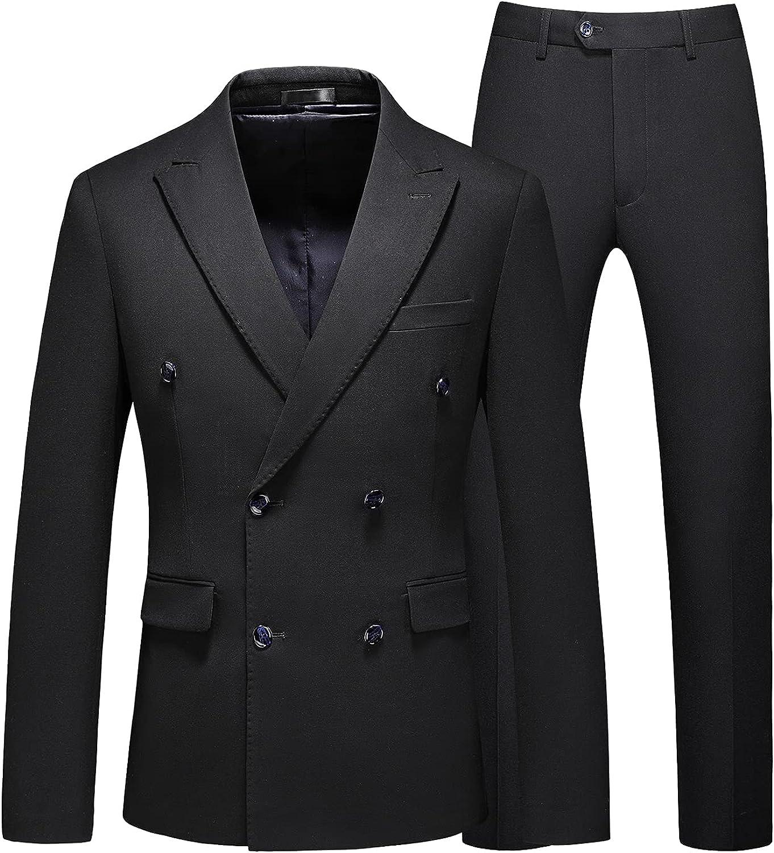 MOGU Mens 3 Piece Double Breasted Suit Black White Slim Fit Vintage Groomsmen Wedding Prom Tuxedo