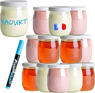 Monboco | lot de 12 Pots de yaourt en verre avec couvercles blancs hermétiques | Fabrication Française | yaourtière & robo...