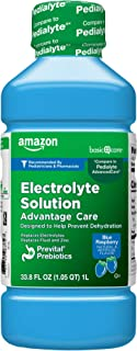 Amazon Basic Care ADVANTAGE CARE Electrolyte Solution, Blue Raspberry, helps prevent dehydration, 33.8 Fluid Ounces