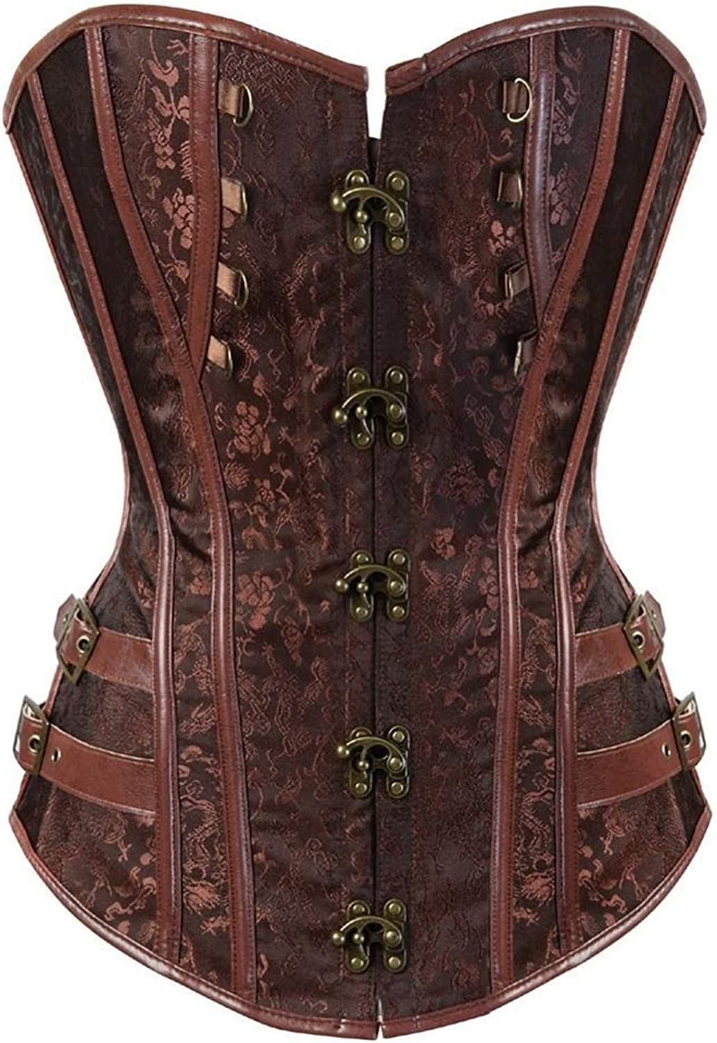 YCRCTC Women Steampunk Gothic Sexy Superlatite National products Overbust Jacquard Buckle Cors