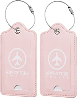 Chelmon Leather Luggage Tags Baggage Bag Instrument Tag 2 Pcs Set (Pink Light 2268)