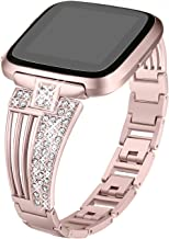 bayite Metal Bands Compatible Fitbit Versa Watch, Bling Bracelets with Rhinestones Woman Girls