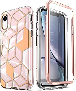 Popshine Marble Series Designed for Apple iPhone XR Case, Premium Hybrid Slim Stylish Full Body Protective Flexible TPU Bumper Cover with Built-in-Screen Protector, Liquid Marble Pink