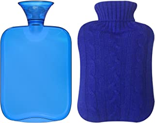 Attmu Classic Rubber Transparent Hot Water Bottle 2 Liter with Knit Cover – Blue