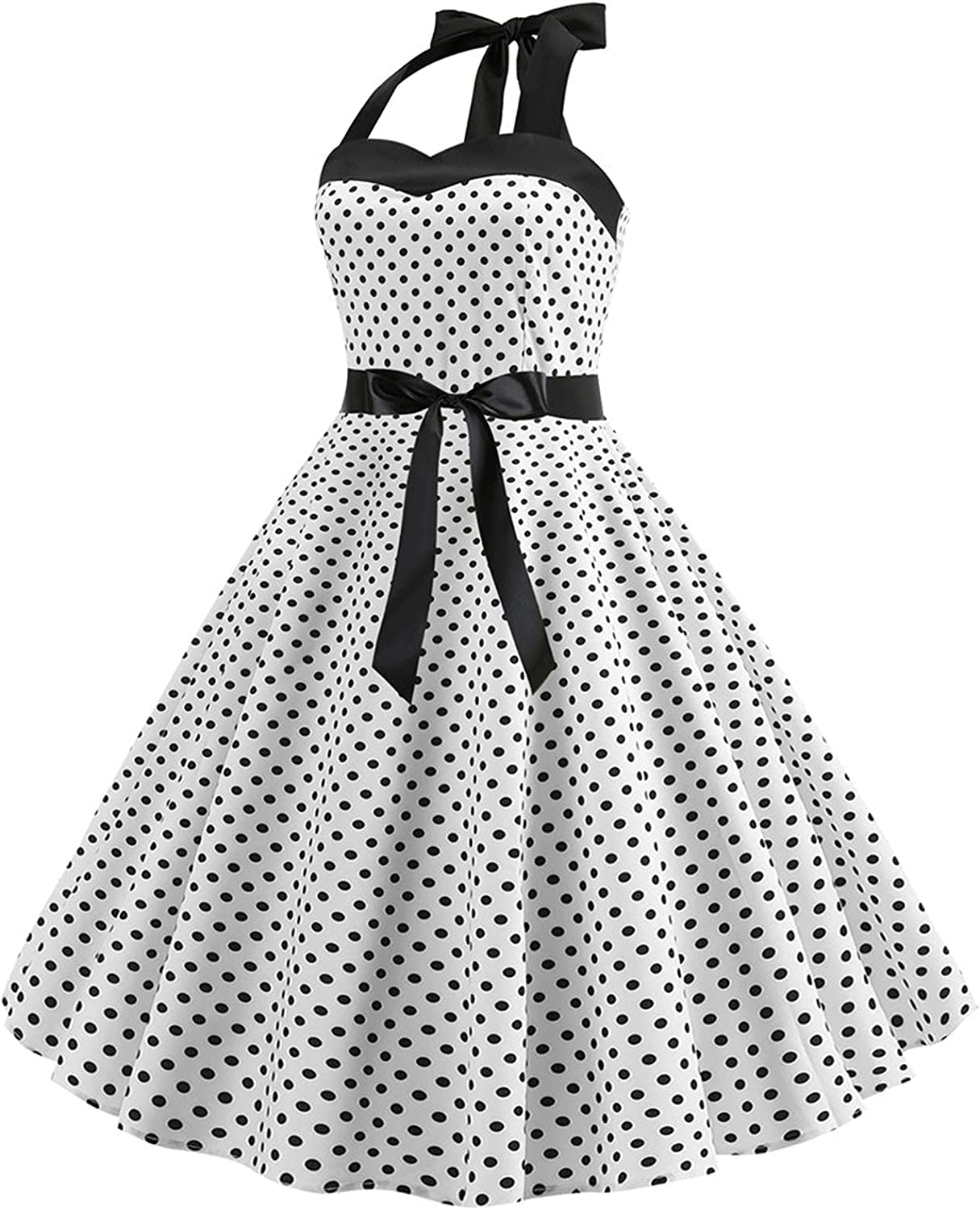 Women Casual Polka Dot Dresses, Slim Fit Sexy A Line Sleeveless Halter Lace Up Party Cocktail Pleated Skeater Dress