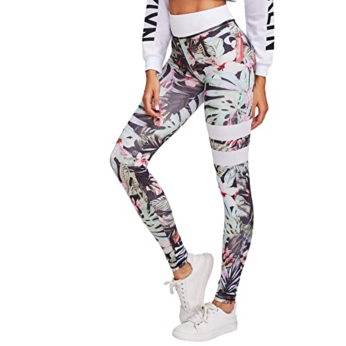 2d32e3de6c33 SweatyRocks Women's Stretchy Print Workout Leggings High Waist Yoga Pants