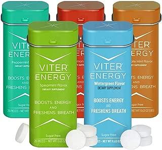 Viter Energy Caffeinated Mints - 5 Flavor Variety Pack Wintergreen, Spearmint, Cinnamon, Peppermint, Chocolate Mint. Caffeine Mints for Energy, Focus & Fresh Breath. 40mg Caffeine & B-Vitamins
