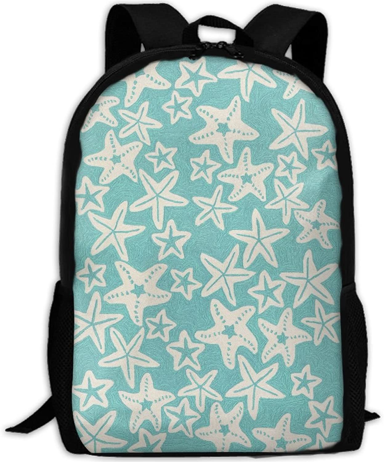 Adult Backpack Green Starfish College Daypack Oxford Bag Unisex Business Travel Sports Bag with Adjustable Strap