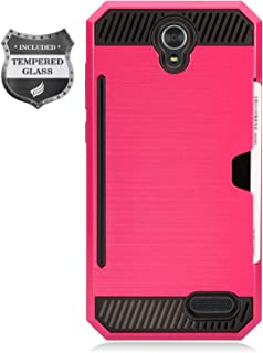 Eaglecell - Compatible with ZTE ZMax Champ Z917, AVID 916, ZMax Grand, Grand X3, Warp 7 - Brushed Hybrid Case w/Card Slot + Tempered Glass Screen Protector - CS2 HotPink