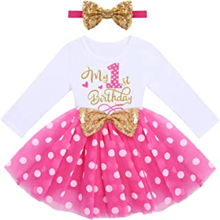 IDOPIP Baby Girl 1st 2nd 3rd Birthday Dress Princess Pageant Party Sequin Bowknot Tutu Dress Cake Smash Playwear Dress Outfit
