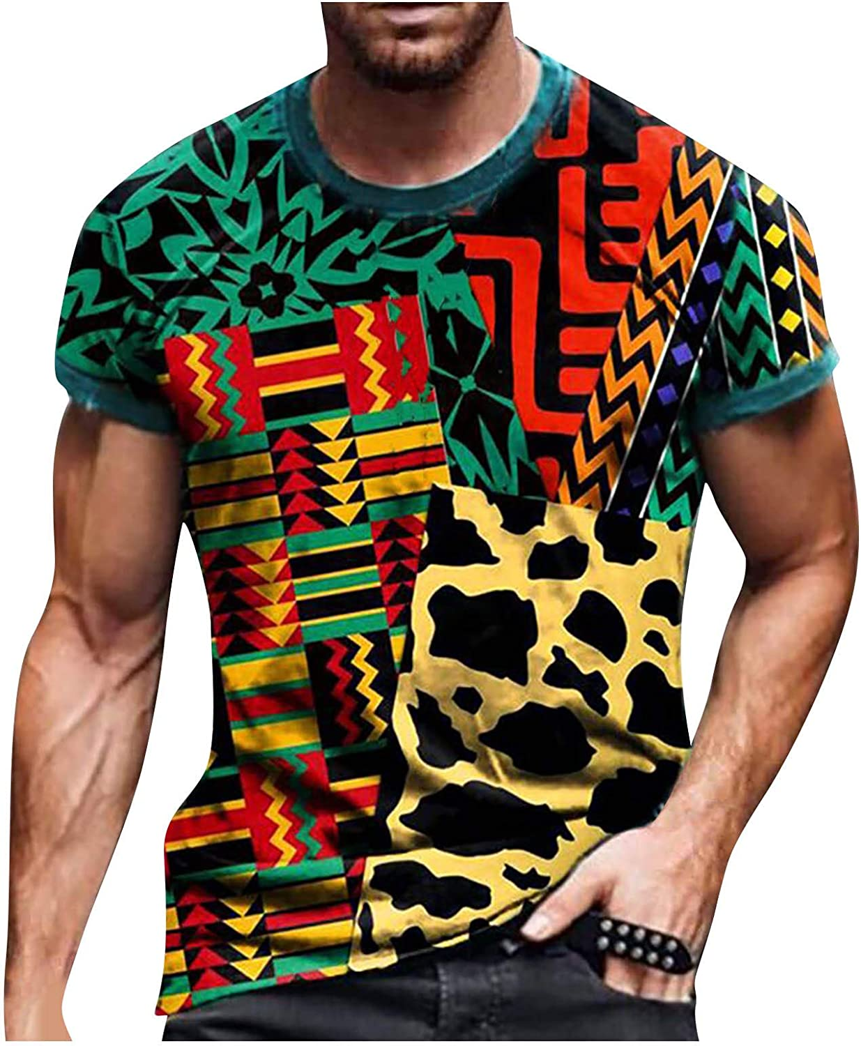 DZQUY Mens Summer Slim Fit Short Sleeve T Shirts Casual Hipster Hip Hop Ripped Round Print Graphic Tee Shirts Tops Blouse