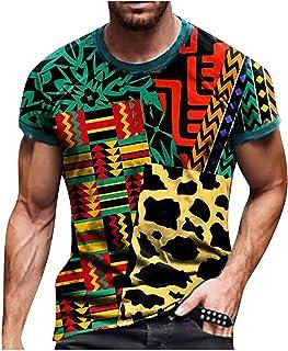 FeelFree+ Camisas y Blusas de Hombres Tallas Grandes Manga Corta Moda Retro Blusa Casual Basica Camiseta Corta con Cuello ...