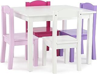 Tot Tutors TC727 Friends Collection Kids Wood Table & 4 Chair Set, White/Pink & Purple