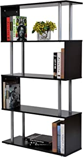 Outsunny HOMCOM Libreria 145x80x30cm Madera y Metal Muebles Oficina Estanteria Estante Negro