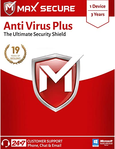 Max Secure Anti-Virus Plus Latest Version with Ransomware Protection ( Windows ) - 1PC, 3 Years (Email Delivery in 2 Hrs - No CD ) 1