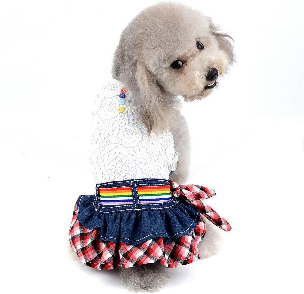 SELMAI Falda Vaquera para Perros pequeños Vestido de Princesa con Volantes Chaleco Floral Hueco Camisa para Gatos Trajes para Perritos niñas Primavera ...