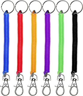 Mini Skater 6Pcs Spiral Retractable Spring Coil Keychain Theftproof Anti-Lost Stretch Cord Safety Key Ring with Metal Lobster Clasp for Keys Wallet Cellphone and Other Important Item,6 Color