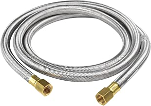 SHINESTAR 6 Feet Stainless Propane Hose Assembly- 3/8inch Female Flare x 3/8inch Female Flare for RV, Gas Grill, Fire Pit, Heater and More, Braided Stainless Steel